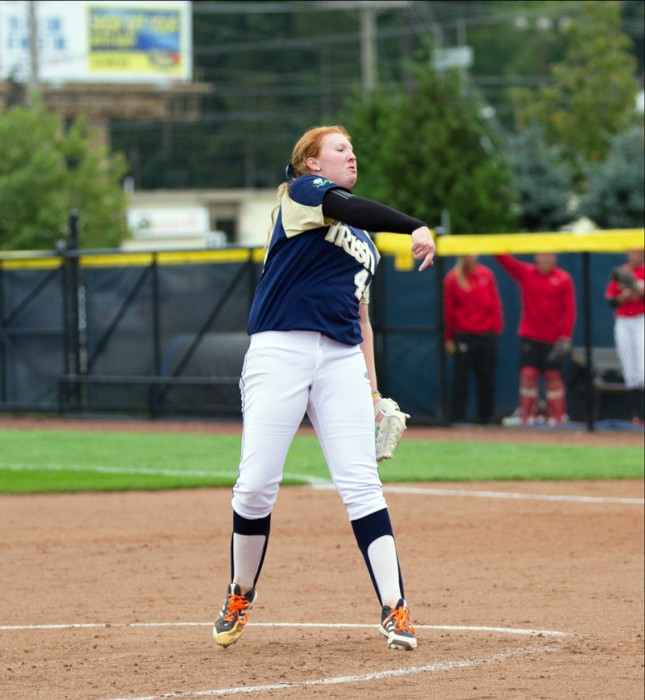 Irish senior pitcher Laura Winter follows through after throwing a pitch in a Sept. 15 scrimmage against Illinois State.