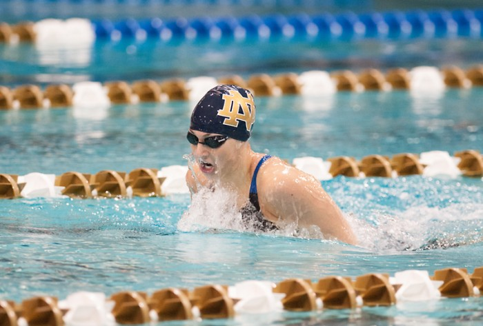 Irish freshman Danielle Margheret swims the breaststroke during the Shamrock Invitational on Jan. 31 at Rolfs Aquatic Center.