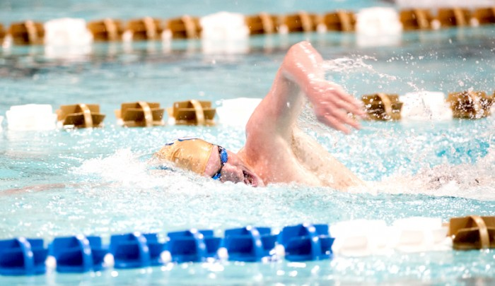 Irish senior Frank Dyer competes in the Shamrock Invitational on Jan. 31. Dyer set a Notre Dame record in the 50-yard freestyle at the ACC Championships on Thursday.