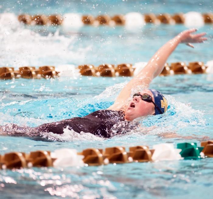 Irish freshman Katie Miller competes in the backstroke at the Shamrock Invitational on Jan. 31.