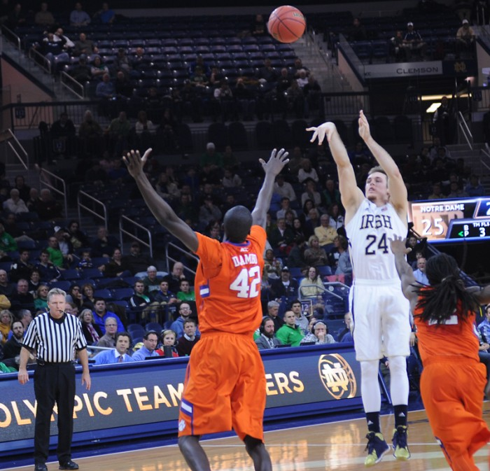 Irish junior guard/forward Pat Connaughton releases a shot during Notre Dame's 68-64 double-overtime win over Clemson on Feb. 11.