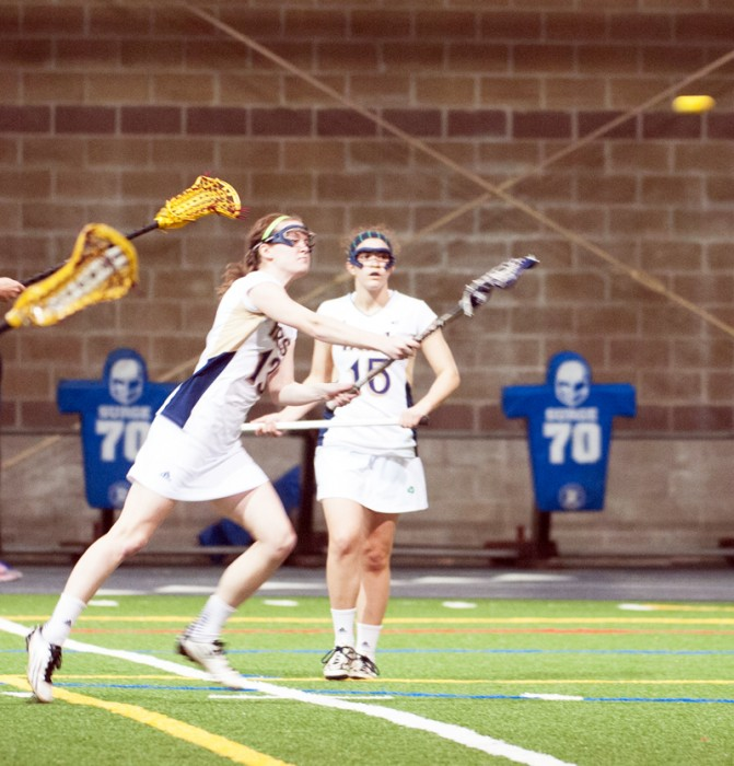 Irish junior Caitlin Gargan launches a shot against Boston College on Saturday. ND lost 15-10, but Gargan scored four goals.