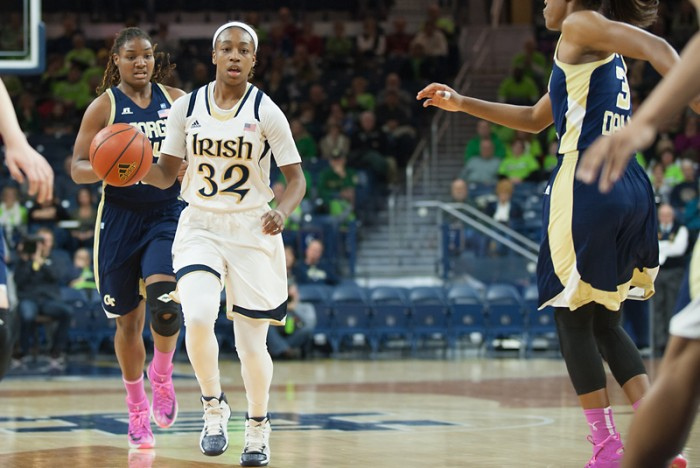 Irish sophomore Jewell Loyd pushes the ball during Notre Dame's 87-72 win over Georgia Tech on Monday. Loyd finished with 27 points, nine rebounds and two assists.