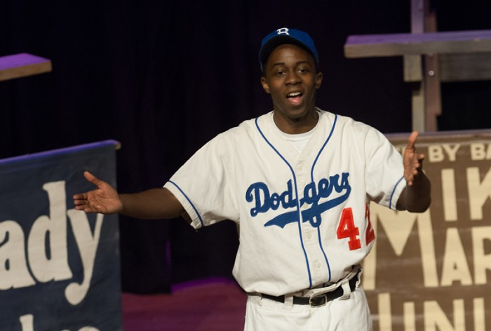 """An actor portrays baseball great Jackie Robinson in the play """"Everybody's Hero"""" in the Saint Mary's O'Laughlin Auditorium on Monday."""
