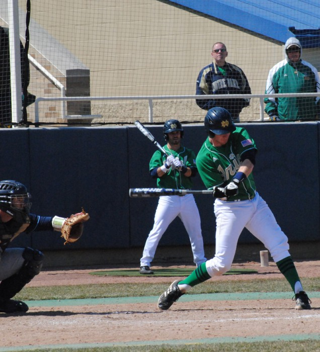 Irish senior catcher Forrest Johnson takes an at-bat during  Notre Dame's 10-6 loss to Villanova on April 7th of last season.