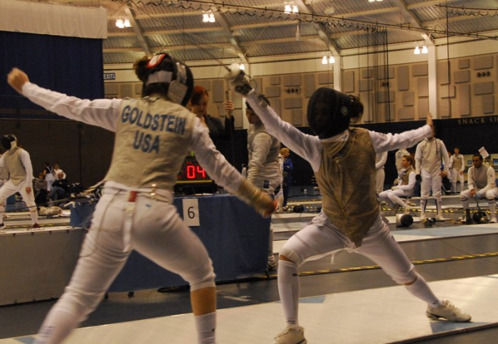 Irish sophomore fencer Lee Keifer, right, competes at the Notre Dame Duals on Feb. 23 last year.