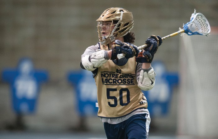 Irish sophomore attackman Matt Kavanagh looks for an open teammate during Notre Dame's scrimmage with Bellarmine on Feb. 1. Kavanagh wi