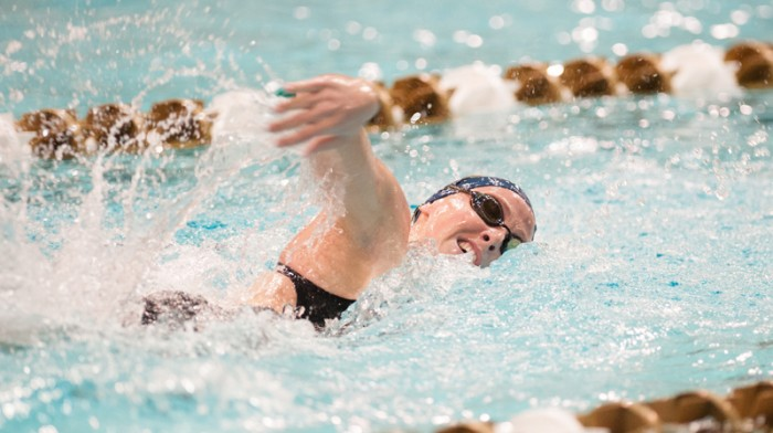 Irish junior Bridget Casey competes in the Shamrock Invitational on Jan. 31 in the Rolfs Aquatic Center. Last year, Casey competed in the NCAA championship meet in the 200-yard butterfly. This year, she is looking to return in that event while she seeks to compete in the 400-yard IM as well.