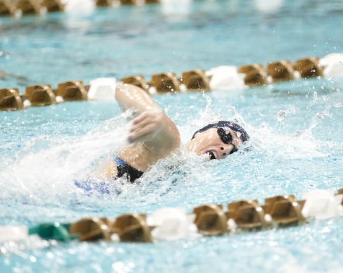 Irish freshman Molly Barry swims the freestyle during the Shamrock Invitational on Jan. 31.