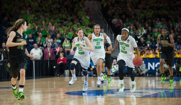 Irish sophomore guard Jewell Loyd races down the court on a fast break during Notre Dame's 88-69 victory over Baylor in the Elite Eight on Monday night. Loyd scored 30 points to lead Notre Dame.
