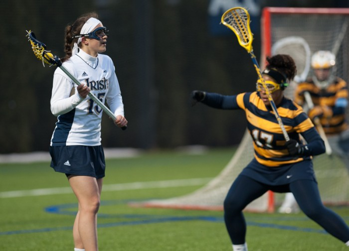 Freshman attack Cortney Fortunato surveys the field during Wednesday's game against Marquette