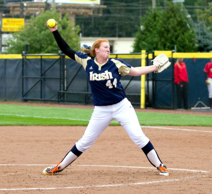 Senior pitcher Laura Winter winds up in a fall exhibition against Illinois St. on Sept. 15.