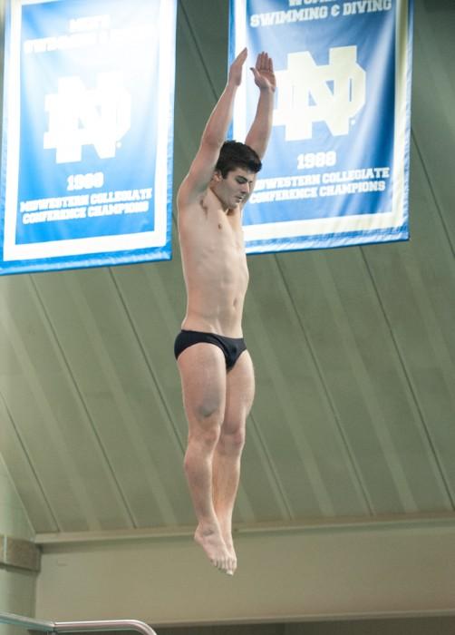 Irish freshman diver Joe Coumos participates in the Shamrock Invitational at Rolfs Aquatic Center on Jan. 31.