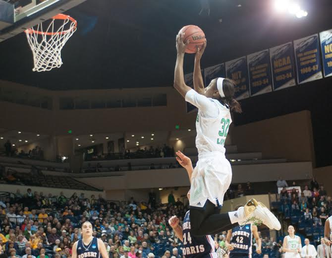 Sophomore guard Jewell Loyd leaps to fire away a jump shot in Saturday's first-round matchup. Loyd had 15 points and seven rebounds in the game.