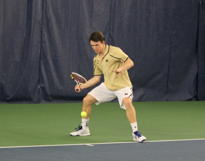 Senior Greg Andrews squares up for a forehand Feb. 22 against Ohio State at the Eck Tennis Pavilion. USC blanked the Irish 7-0 on Friday at Marks Stadium in Los Angeles.
