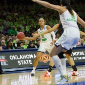 Irish senior guard Kayla McBride looks to pass to teammate Natalie Achonwa.