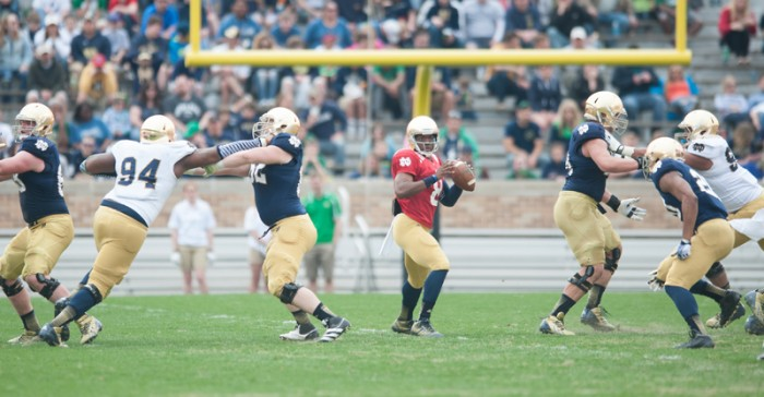 Sophomore quarterback Malik Zaire surveys the field during the Blue-Gold Game on Saturday. Zaire threw for 259 yards and two touchdowns in the first half.