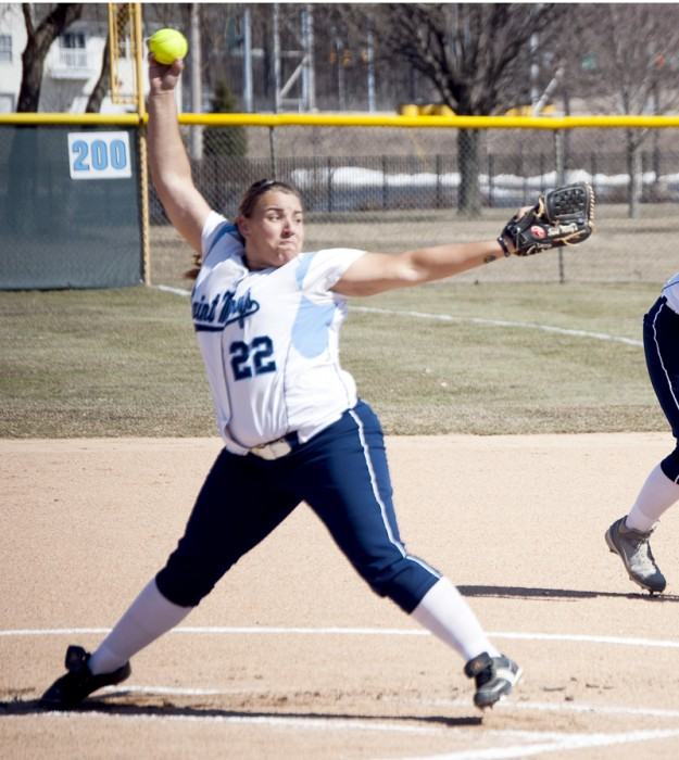 Senior pitcher Callie Selner delivers a pitch March 28, 2013 against Defiance. Selner leads the Belles with a 2.62 ERA this season and will return to the mound today.