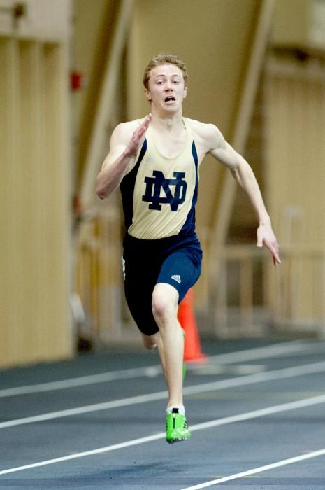 Irish freshman sprinter Alex Groesch runs in the Notre Dame Invitational on Jan. 25.