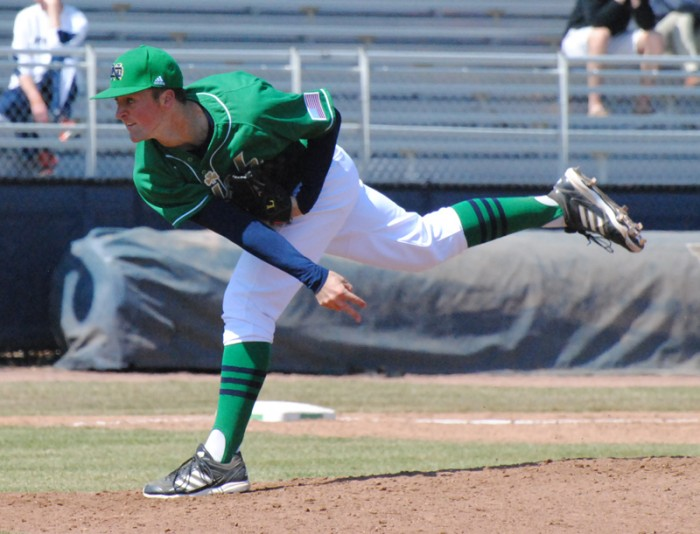 Irish sophomore pitcher Nick McCarty follows through during a 10-6 loss to Villanova on April 7, 2013. McCarty notched a two-hitter Tuesday.