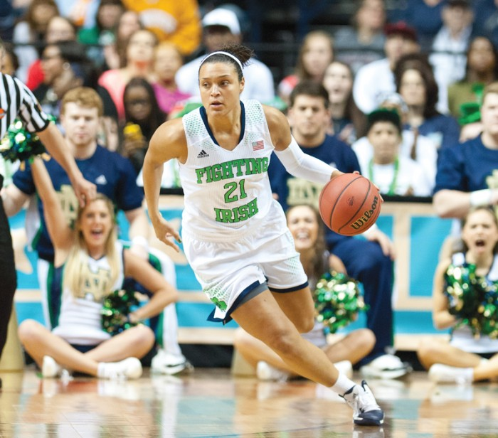 Irish senior guard Kayla McBride brings the ball up the court during Notre Dame's 87-61 victory over Maryland on Sunday. McBride led all scorers with 28 points.