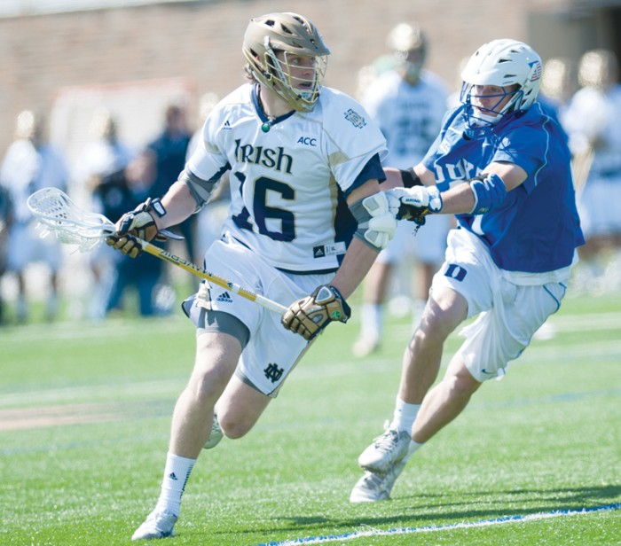 Irish freshman midfielder Sergio Perkovic scans the field against Duke on Saturday. Perkovic scored his ninth goal of the season.