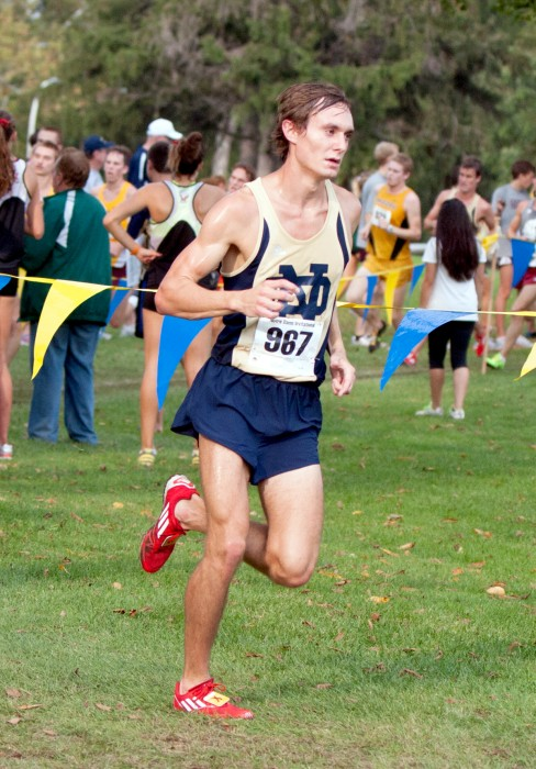 Irish junior Michael Clevenger turns a corner during the Notre Dame Invitational on Oct. 4.