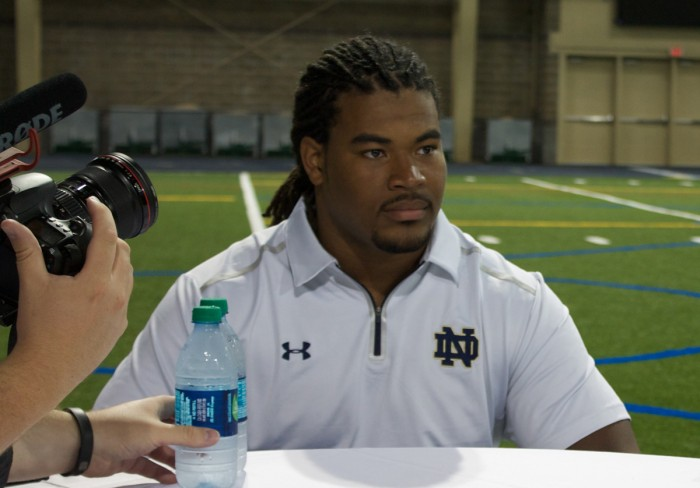 Irish junior defensive end Sheldon Day listens to a reporter during Notre Dame's media day on Aug. 19. Day was named as one of four Irish captains by coach Brian Kelly.
