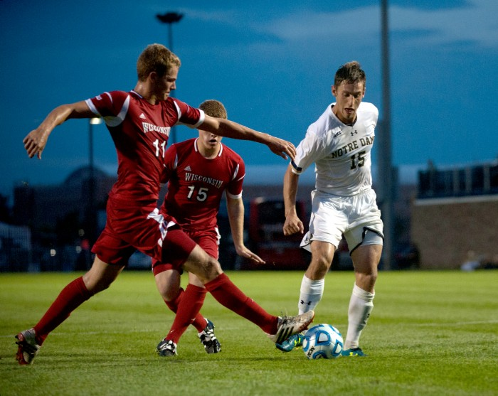 Irish junior Evan Panken battles for possession of the ball during Notre Dame's 5-0 exhibition win over Wisconsin on Aug. 25.