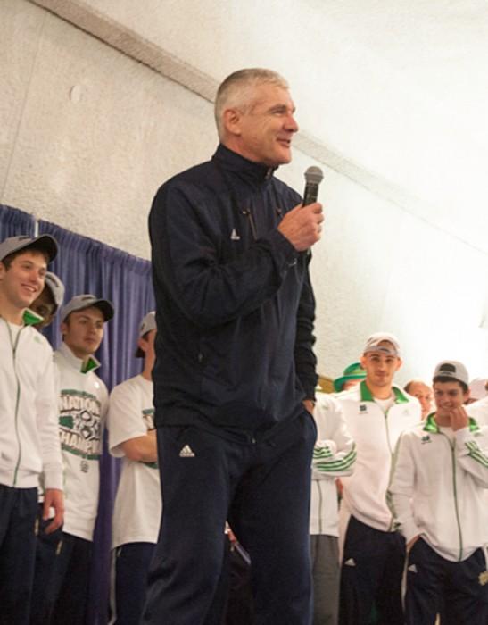 Irish coach Bobby Clark addresses the crowd during Notre Dame's national championship celebration on Dec. 15.