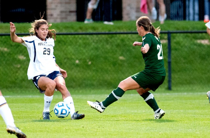 Irish freshman midfielder Taylor Klawunder dribbles the ball forward during Notre Dame's 1-0 win against Baylor on Sept. 12 at Alumni Field. Klawunder scored a goal in Saturday's loss to UNC.
