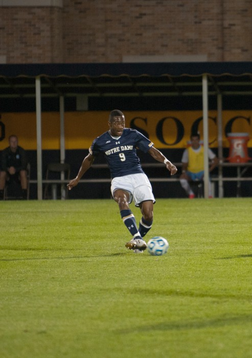 Irish graduate student forward Leon Brown passes during Notre Dame's 2-0 win over North Carolina on Sept. 26 at Alumni Stadium.