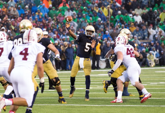 20141004, 2014-2015, 20141004, Football, Golson, Kevin Song, Notre Dame Stadium, vs Stanford
