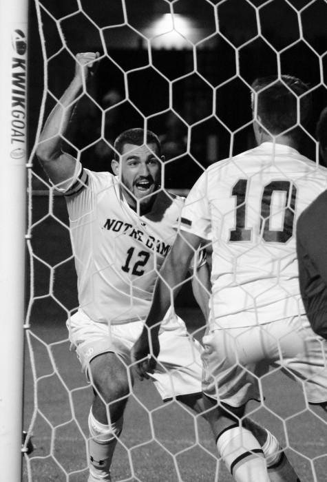 Irish graduate student defender Andrew O'Malley celebrates after his goal Friday in the 3-2 home win over Louisville on Friday.