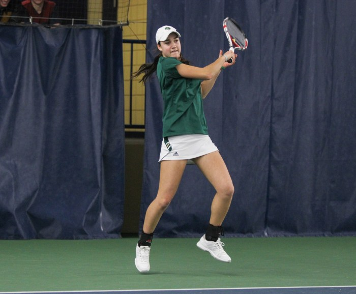 Irish junior Quinn Gleason returns a hit during Notre Dame's 4-3 loss to Georgia Tech on Feb. 21 at Eck Tennis Pavilion.