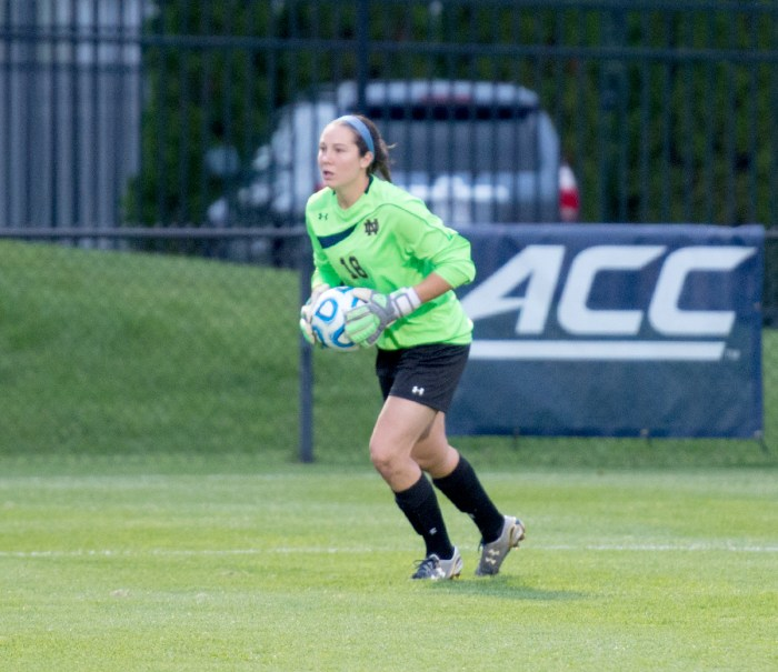 Irish sophomore goalkeeper Kaela Little backstops a defense that has blanked opponents for seven consecutive hours of game time.