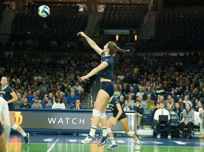 Senior middle blocker Jeni Houser volleys the ball during a 3-1 home loss to Duke on Oct. 5.