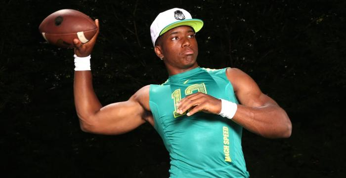 """Class of 2015 quarterback Brandon Wimbush committed to Notre Dame in October after flipping from Penn State. Irish recruiting analyst Tom Loy said Wimbush is """"a five-star quarterback in [his] book."""""""