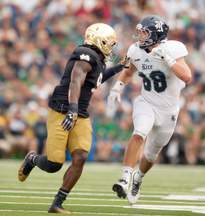"""Irish sophomore linebacker Jaylon Smith, pictured here against Rice, said Notre Dame will rely on its """"next-man-in"""" philosophy after senior linebacker Joe Schmidt suffered a season-ending ankle injury."""