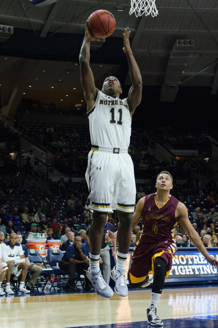 Irish sophomore guard Demetrius Jackson goes up for a layup Nov. 1 during Notre Dame's 88-71 win over Minnesota Duluth
