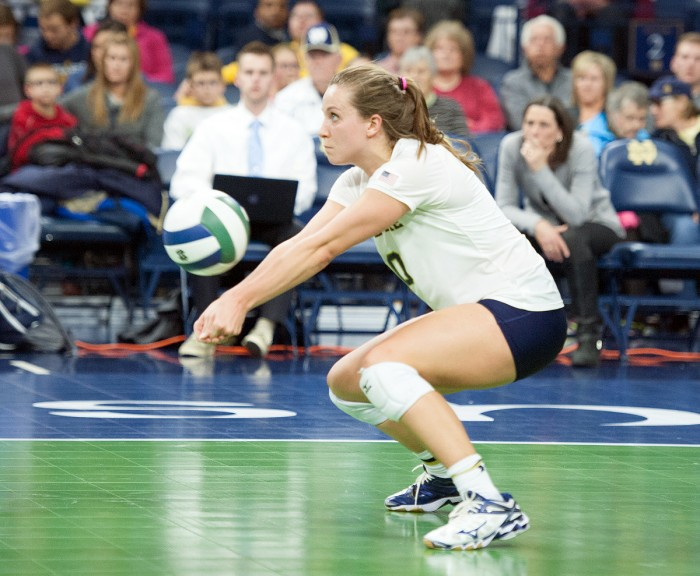 Irish senior libero Kathleen Severyn digs the ball during Notre Dame's 3-0 loss to Pittsburgh on Friday at Purcell Pavilion.