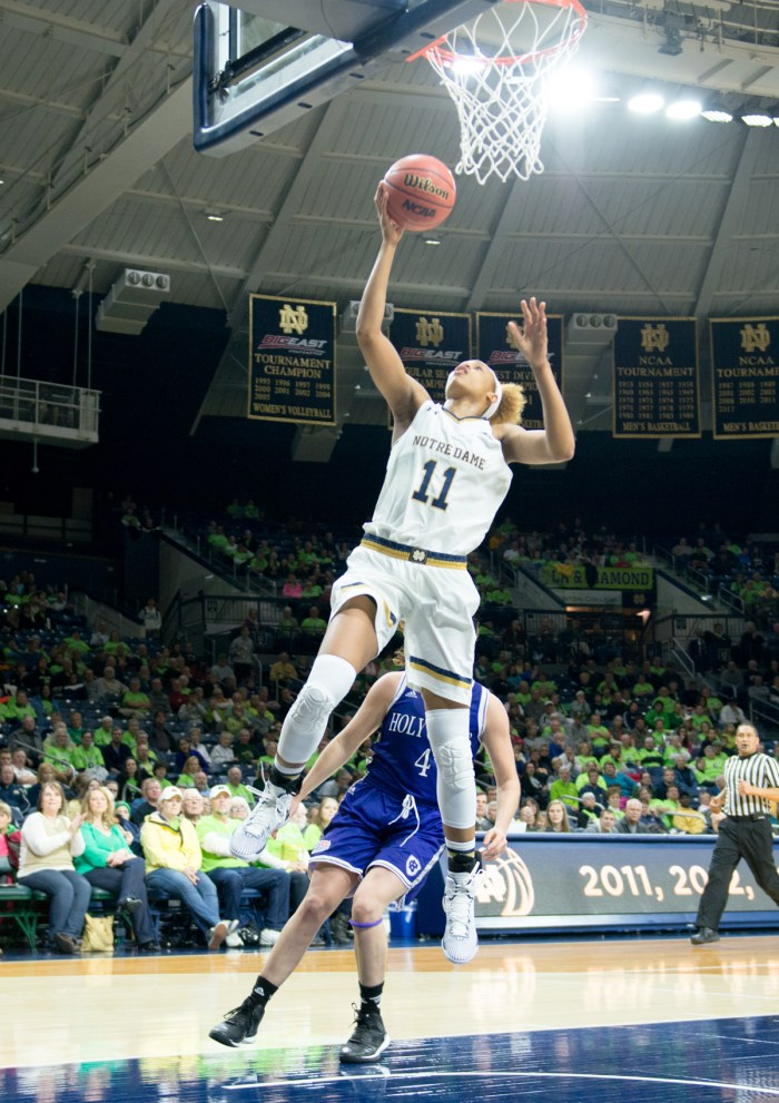 Irish freshman forward Brianna Turner lays the ball in during Notre Dame's 104-29 win over Holy Cross on Nov. 23.