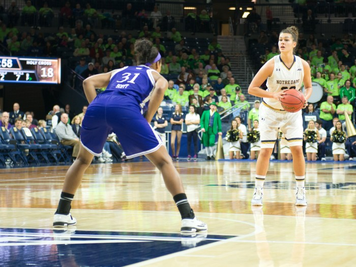 Notre Dame freshman forward Kathryn Westbeld looks up for a pass during the 104-29 win over Holy Cross in the Purcell Pavilion on Nov. 23.
