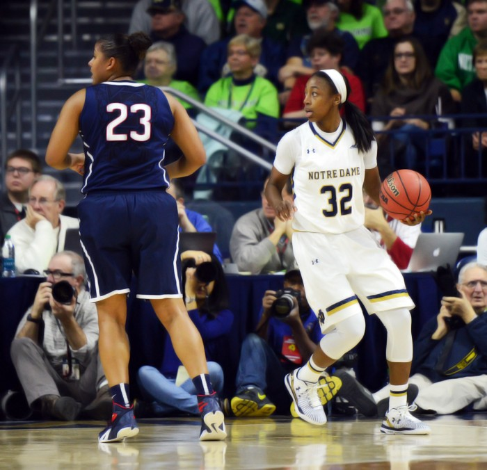 Irish junior guard Jewell Loyd looks to the referee after a whistle during Notre Dame's 74-56 loss to Connecticut on Saturday.