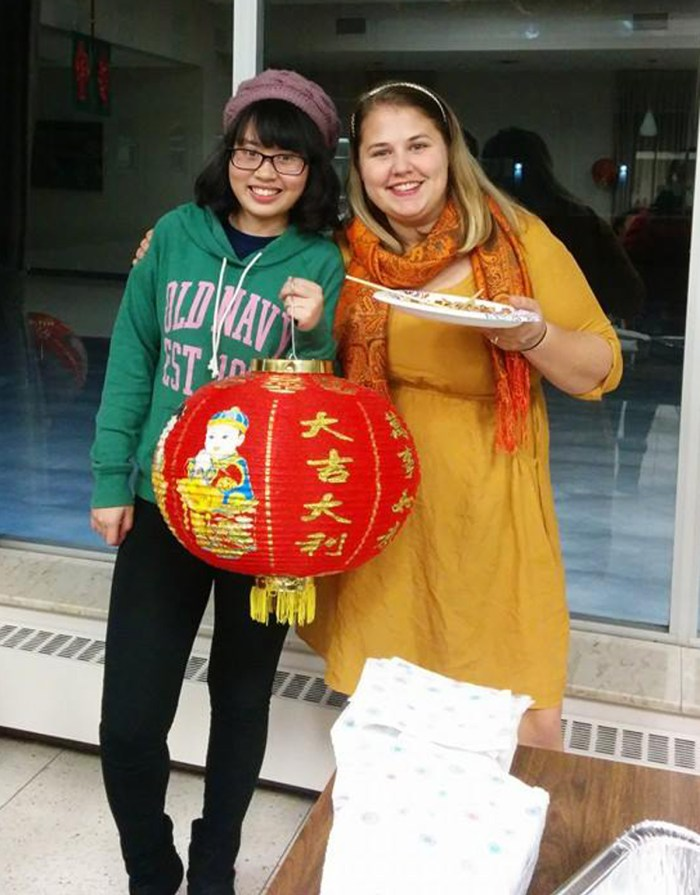 Ngoc Truong and Catherine Sullivan, co-chairs of the Saint Mary's International Committee, host the second Diversity Dinner.