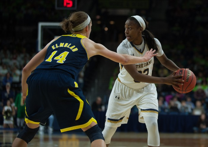 Irish junior guard Jewell Loyd looks to drive past a Michigan defender during Notre Dame's 70-50 win Dec. 13 at Purcell Pavilion.