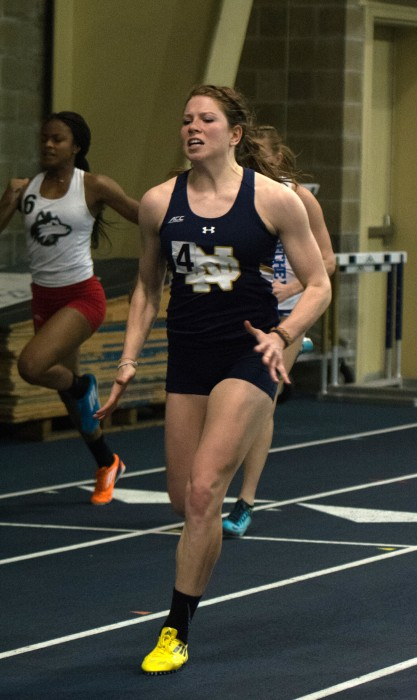 Irish sophomore Emily Carter powers through the line during a heat of the 60-meter sprint of the Blue and Gold Invitational at Loftus Sports Center. Carter finished sixth in the final.