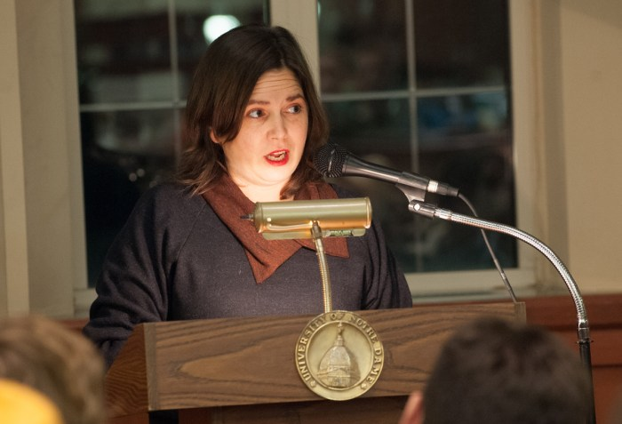 """The Creative Writing Program hosted author Lucy Corin Wednesday evening in the Hammes bookstore to read from her latest book, """"One Hundred Apocalypses and Other Apocalypses."""""""