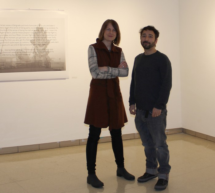 "Artists Melissa Potter, left, and Mat Rappaport presented two next exhibits to the Saint Mary's community in the Moreau Galleries, titled ""Touristic Intents"" and ""Homeland: Chicago & Belgrade Diasporas."""