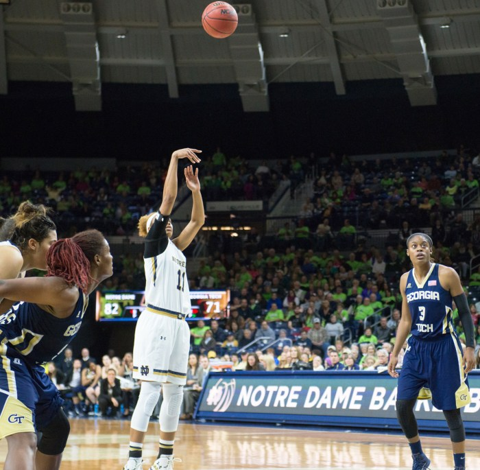 Irish freshman forward Brianna Turner shoots a free throw in an    89-76 victory over Georgia Tech on Thursday at Purcell Pavilion.